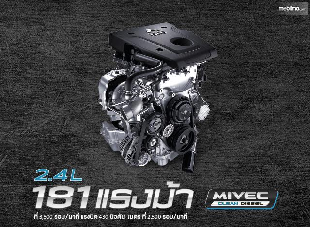 Gambar bagian mesin berkode 4N15 di Mitsubishi Triton 2019