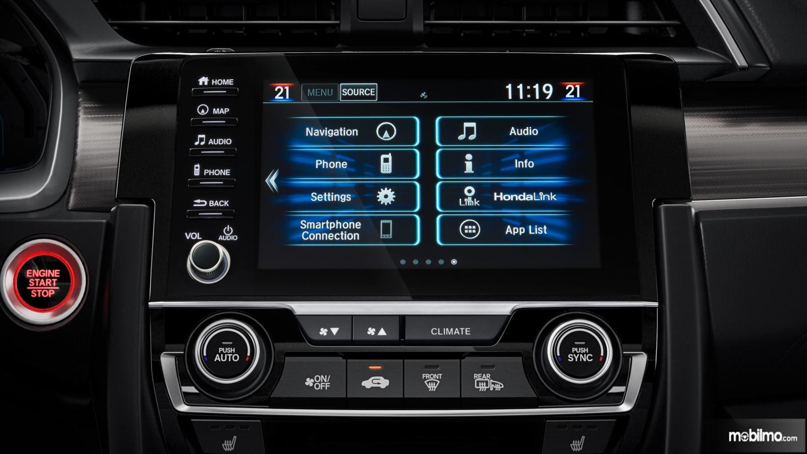 Gambar fitur infotainment Honda Civic 2019