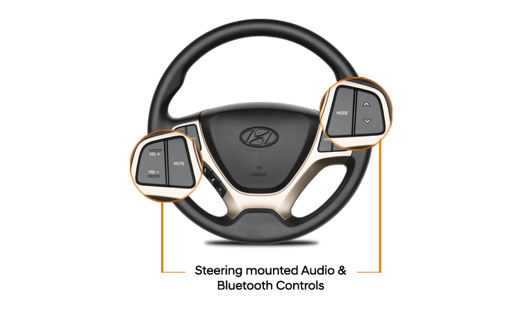 Gambar menunjukkan tombol multifungsi pada setir Hyundai Santro 2019