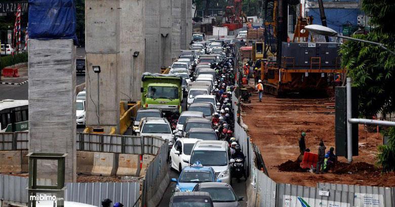 Tampak pembangunan infrastruktur bikin macet