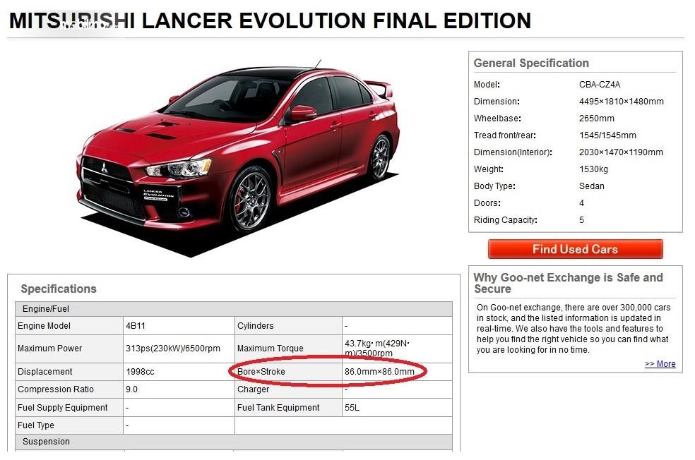 Mesin dengan karakter square Lancer Evo X Final Edition