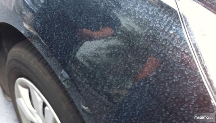 Gambar ini menunjukkan bodi mobil yang terdapat banyak noda sisa terkena air hujan