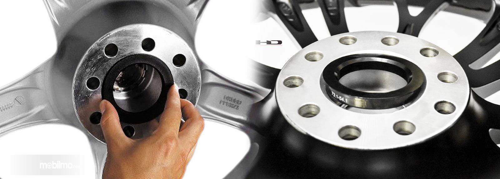 Foto center ring pada velg mobil