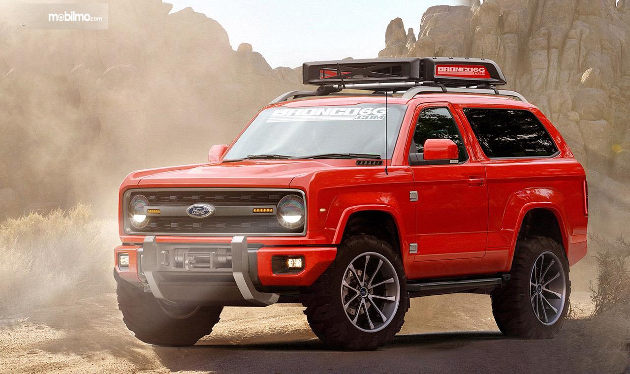 Gambar mobil Ford Bronco 2020 berwarna merah dilihat dari sebelah kanan