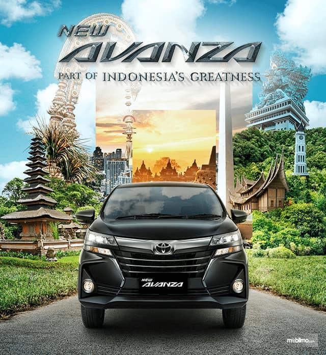 New Toyota Avanza 1.5 G M/T 2019 yang sedang parkir di depan foto yang indah