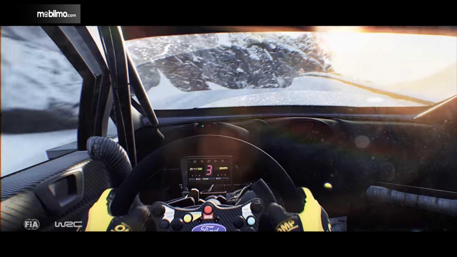 layar pengemudi dalam game WRC 8 di balik kemudi