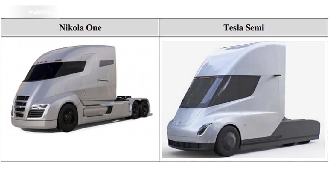 perbandingan Tesla Semi dan Nikola One berwarna putih