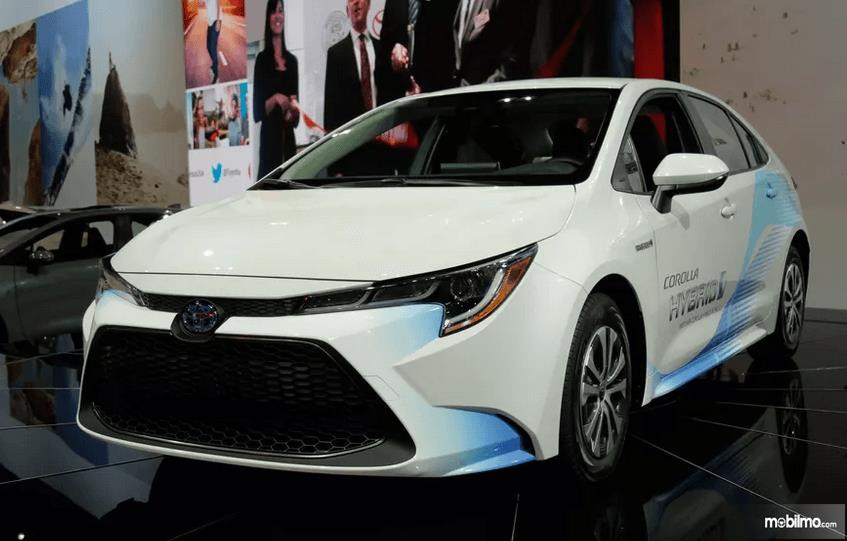 Gambar ini menunjukkan mobil Mobil Toyota Corolla Hybrid warna putih tampak depan