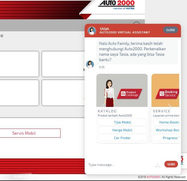 Penampilan Tasia di website Auto2000