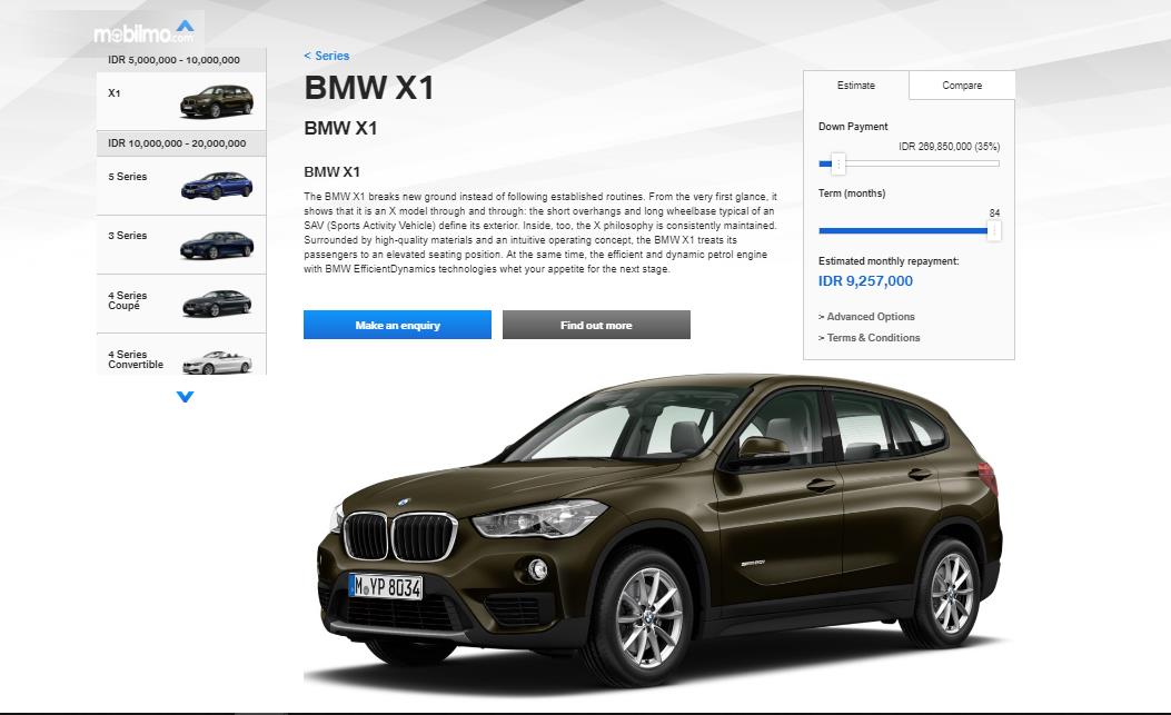 Penampilan profil BMW X1 pada BMW Financial Calculator