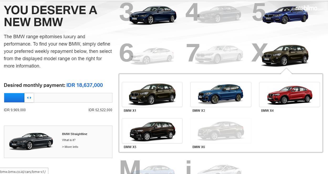 Pilihan mobil BMW yang bisa dipilih berdasarkan dana cicilan per bulan