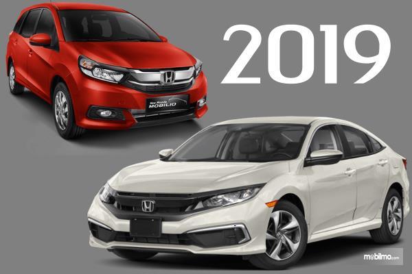Gambar ini menunjukkan MObil New Honda Mobilio dan new Honda Civic 2019