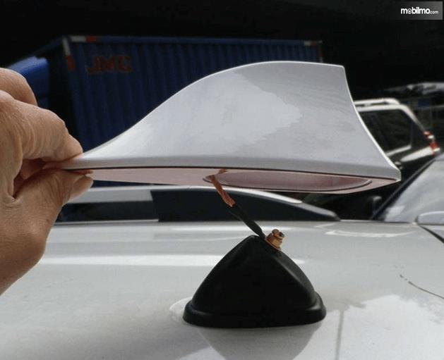 Gambar ini menunjukkan sirip hiu yang terhubung dengan kabel pada mobil