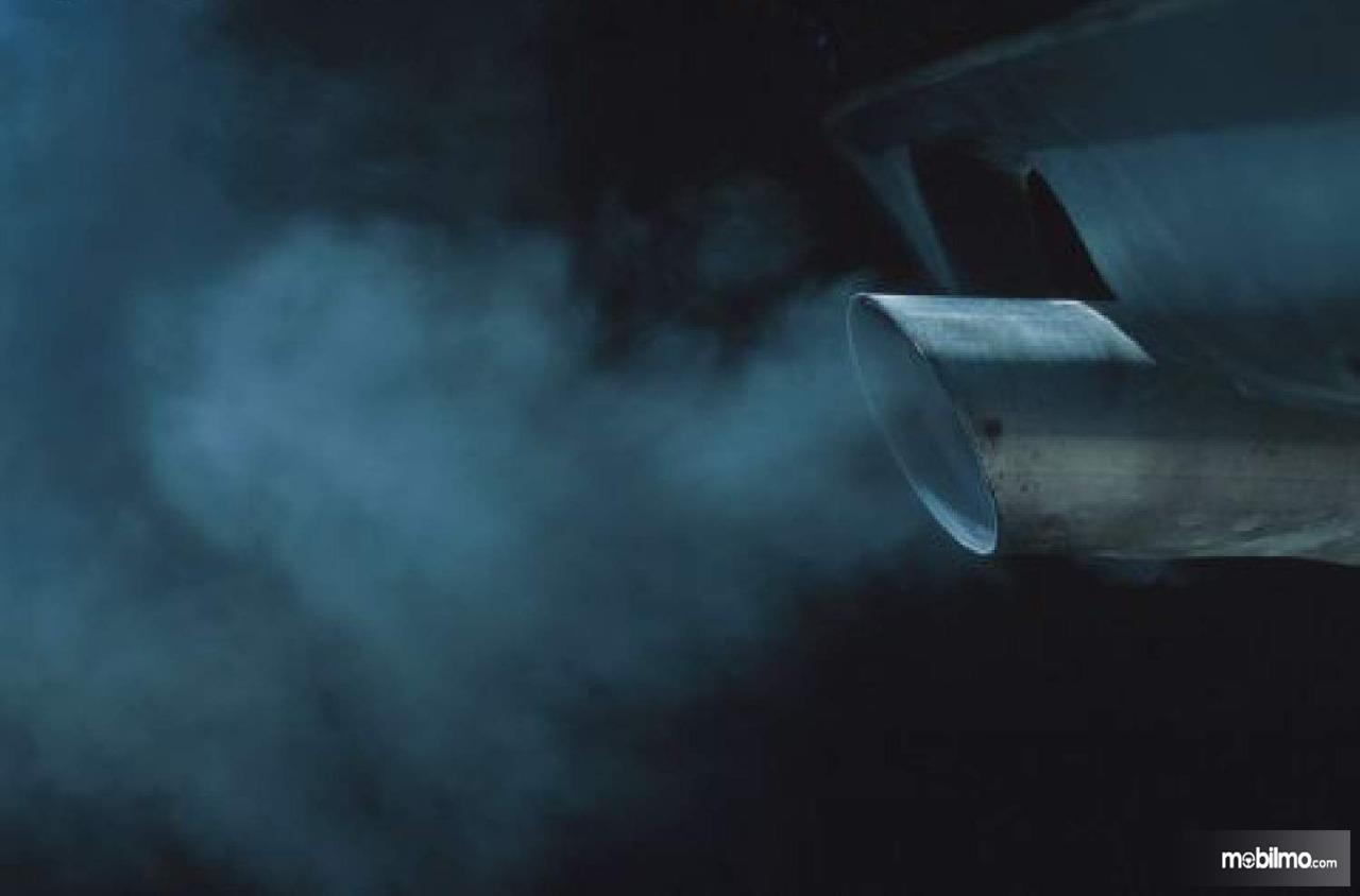 Tampak asap putih knalpot