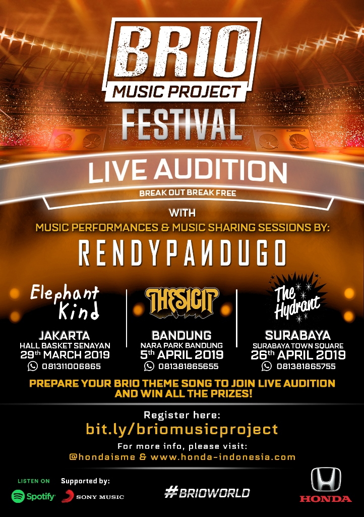 Banner Brio Music Project Festival, kontes online untuk menciptakan karya musik original yang akan dijadikan 'lagu wajib' All New Honda Brio