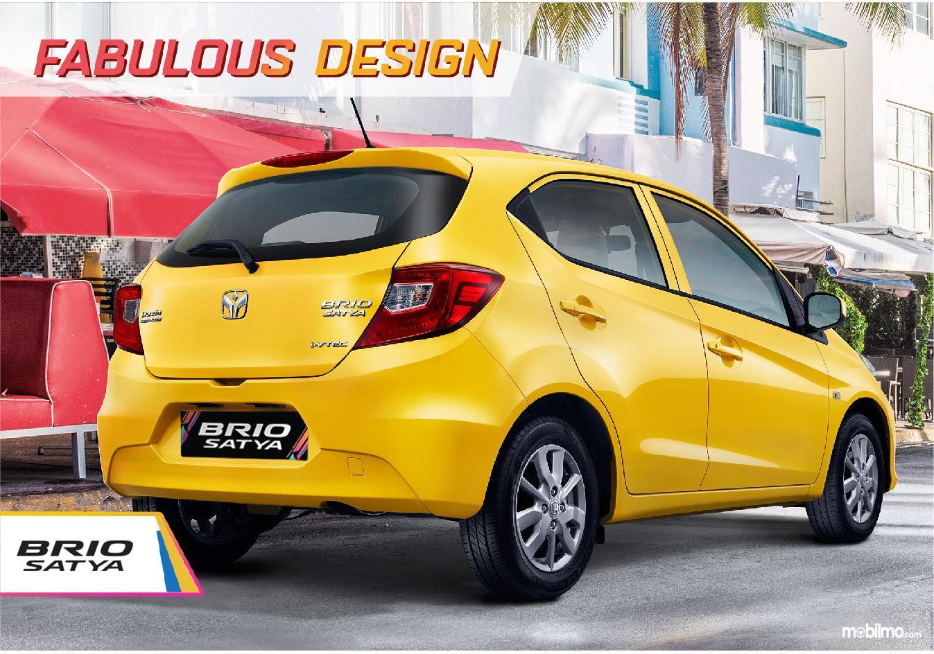 Tampilan All New Honda Brio Satya 2018 dari belakang lebih kekinian mernyerupai desain hatchback