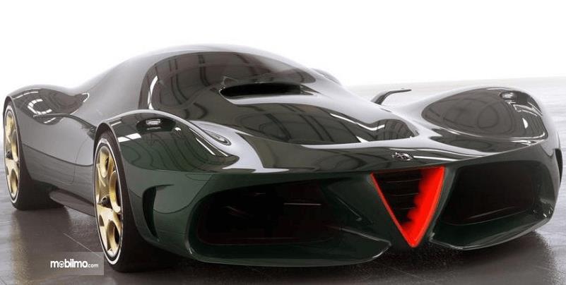 Gambar ini menunjukkan mobil masa depan dari Alfa Romeo dengan lubang udara besar