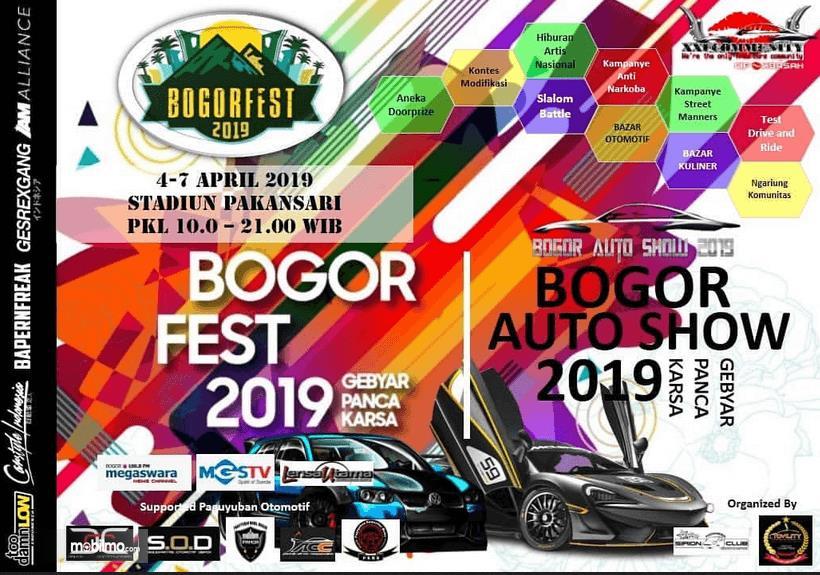 Gambar ini menunjukkan brosur pameran Bogor Auto Show 2019