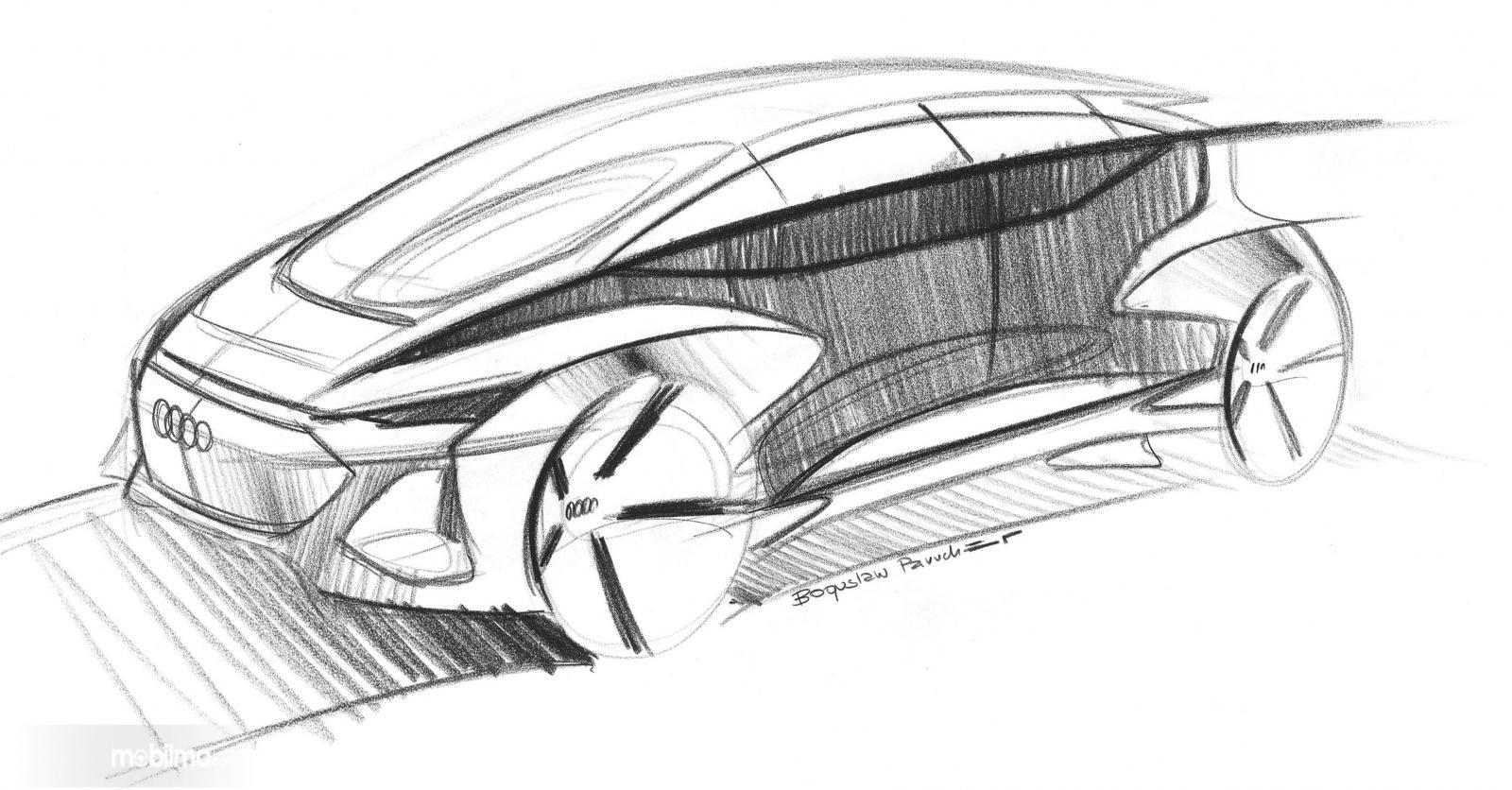 Gambar Sketsa mobil listrik otonom Audi yang diriis di laman resmi Audi sebelum diperkenalkan wujud fisiknya di Auto Shanghai 2019