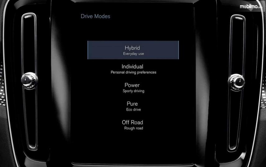 Gambar ini menunjukkan layar head unit pada mobil Volvo XC40 2019