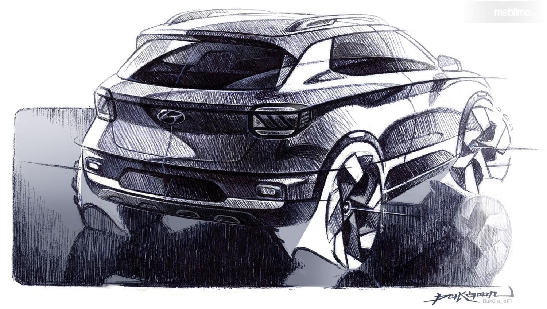 Gambar Sketsa Desain Hyundai Venue dari arah samping belakang