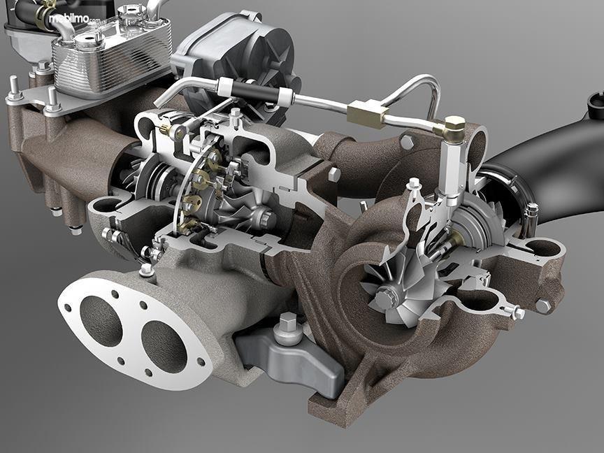 Tampak twin scroll turbo milik Subaru