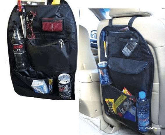 Gambar ini menunjukkan tempat makanan dan minuman di belakang jok mobil