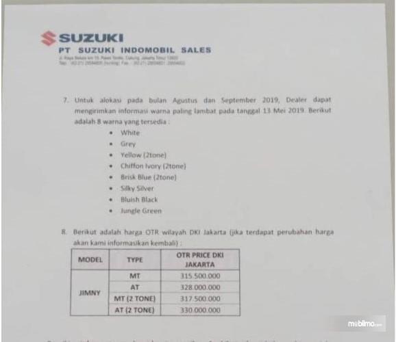 Foto Bocoran harga Suzuki Jimny dalam surat resmi Suzuki