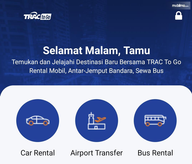 Tampilan aplikasi TRAC to Go untuk android