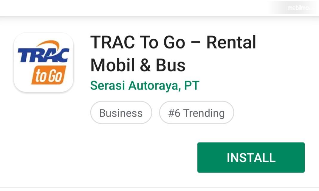 Tampilan aplikasi Trac to Go di Google Playstore