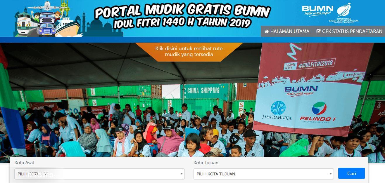 Gambar ini menunjukkan halaman utama pada situs mili BUMN