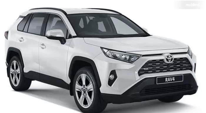 Gambar ini menunjukkan mobil Toyota RAV4 generasi terbaru warna putih
