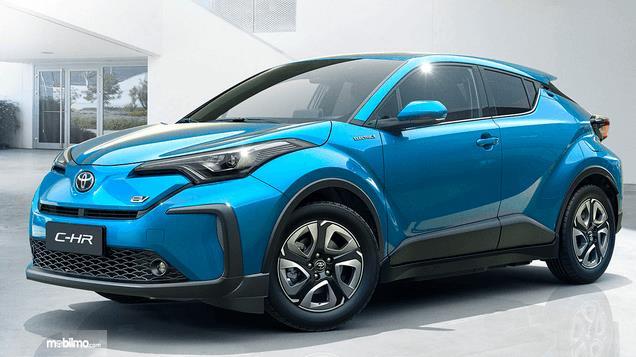 Gambar ini menunjukkan bagian samping kanan Toyota C-HR EV 2020