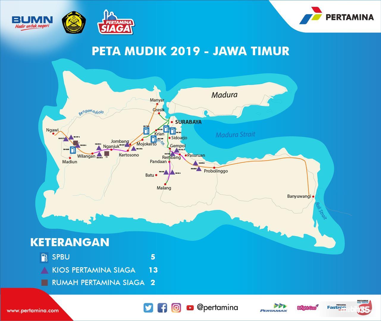 Peta Pertamina Siaga wilayah Provinsi Jawa Timur