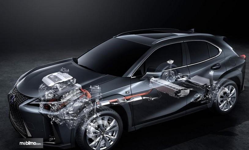 Gambar ini menunjukkan ilustrasi mesin yang terdapat pada mobil Lexus UX 250h 2019