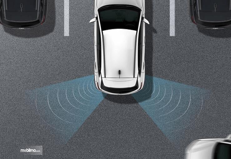 Gambar ini menunjukkan ilustrasi fitur Fitur Rear Cross Traffic Alert pada mobil