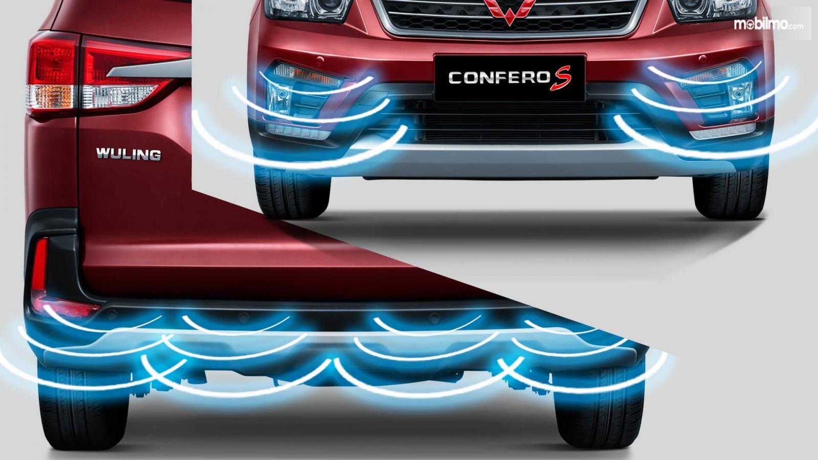 Gambar menunjukkan Sensor Parkir Wuling Confero S di bagian depan dan belakang