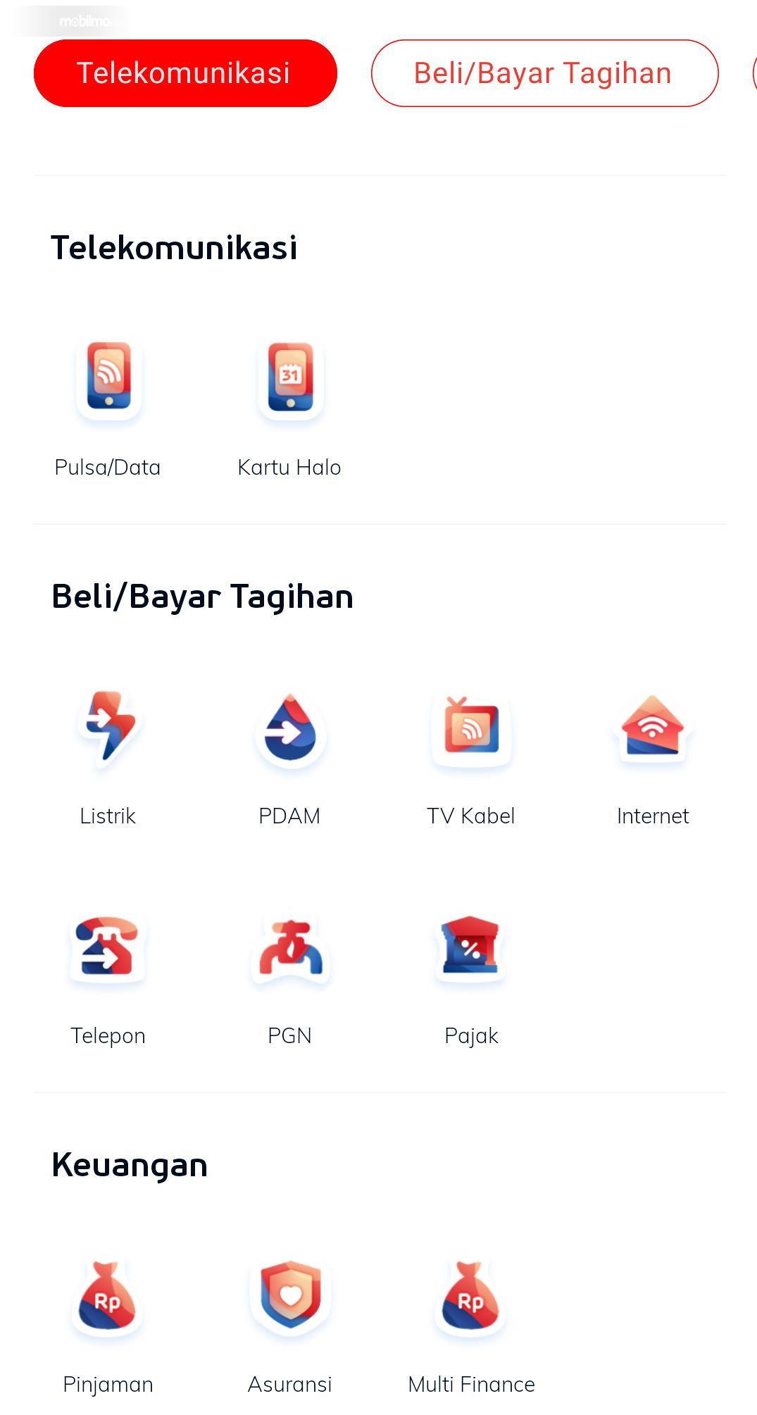 Gambar menunjukkan beberapa fitur yang ada dalam aplikasi LinkAja