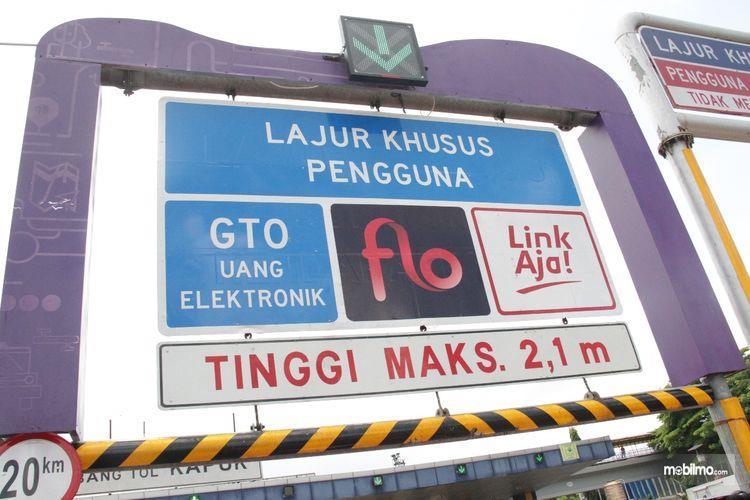 Foto salah satu gerbang tol khusus pengguna LinkAja dan e-wallet lain