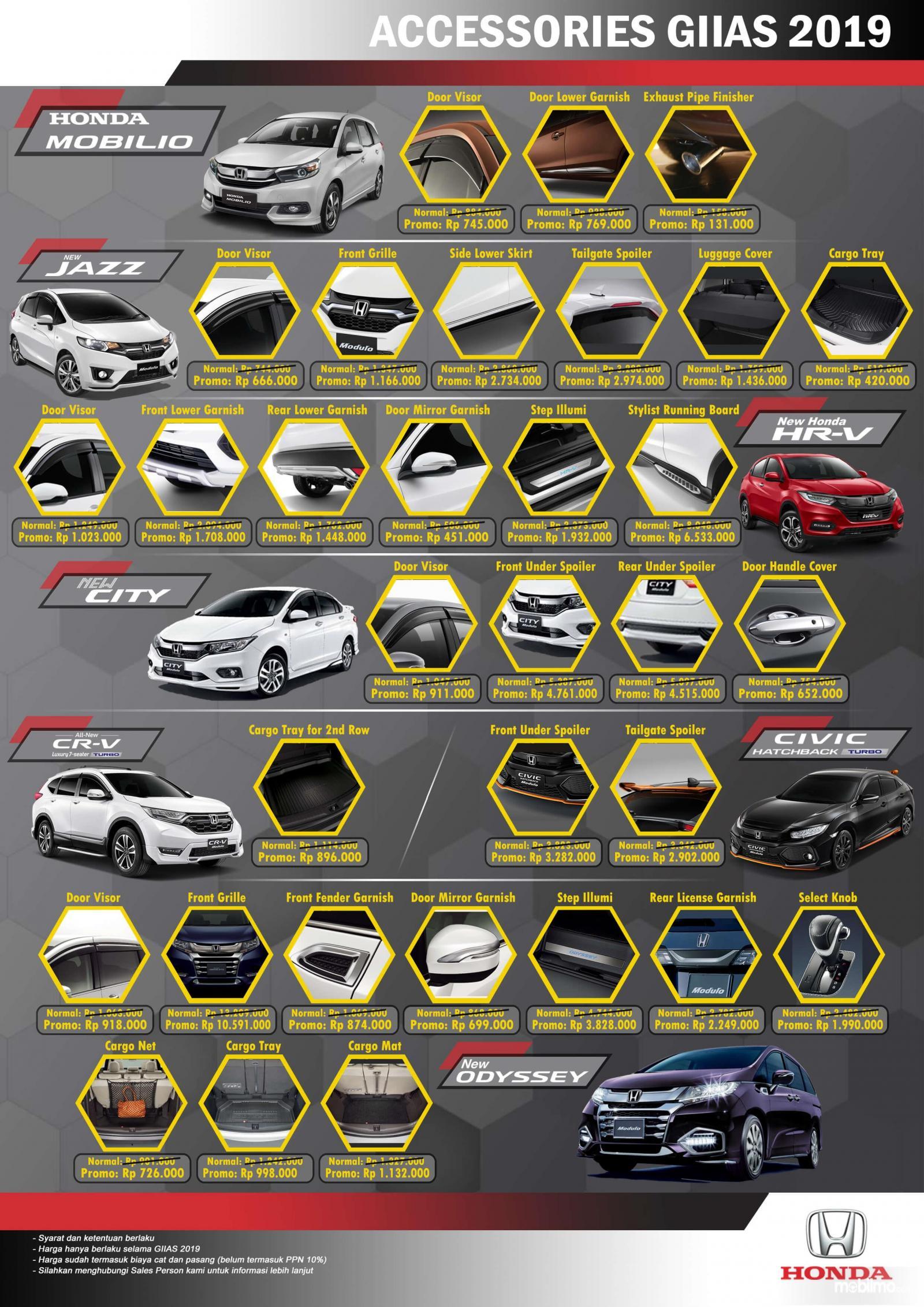 Gambar ini menunjukkan beragam aksesoris mobil Honda yang mendapat potongan harga