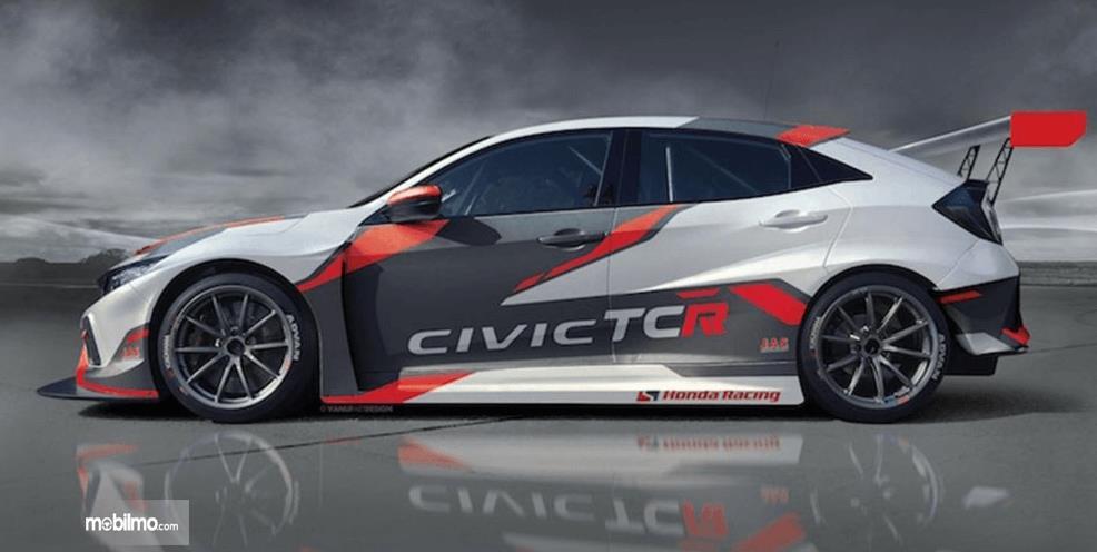 Gambar ini menunjukkan bagian samping Honda Civic Type-R TCR 2018