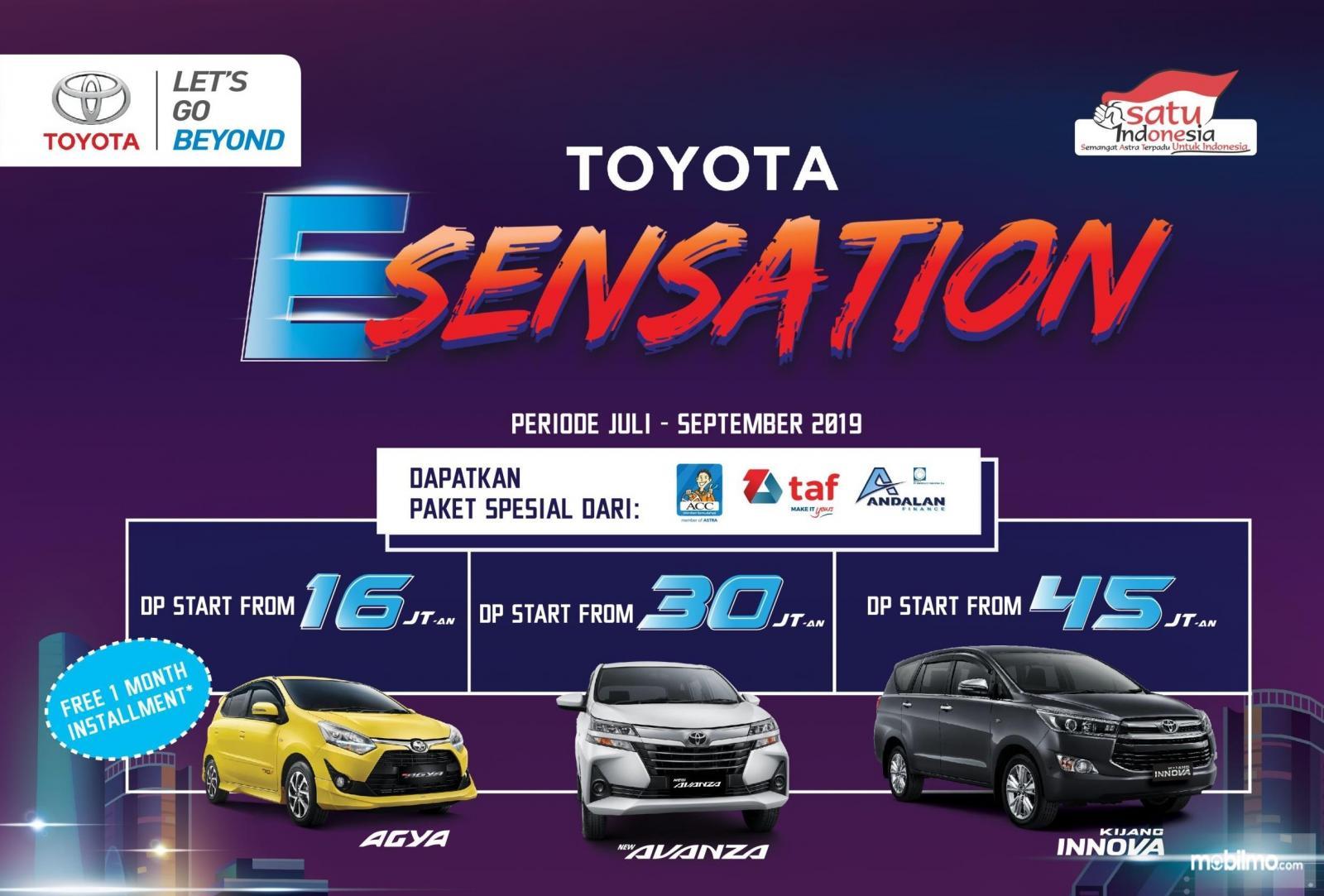 Banner Paket Sensation dari diler Toyota Auto2000 - khusus Agustus 2019