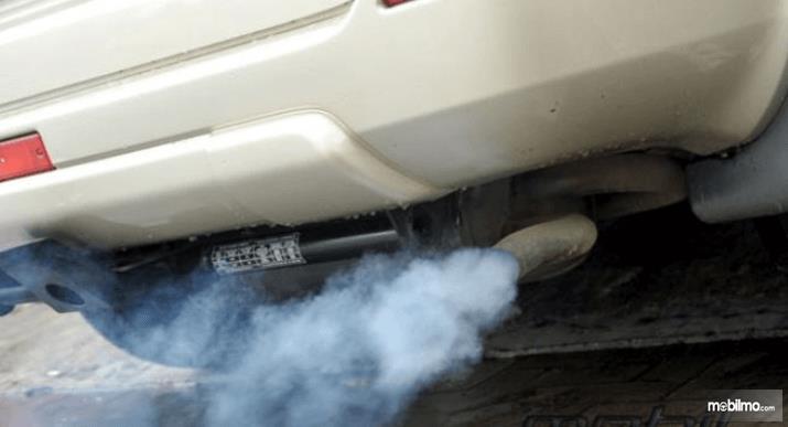 Gambar ini menunjukkan asap yang keluar dari knalpot mobil