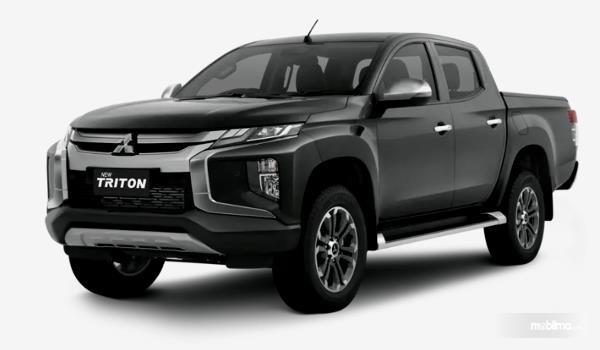 Gambar ini menunjukkan mobil Mitsubihi New Triton tampak bagian depan dan samping