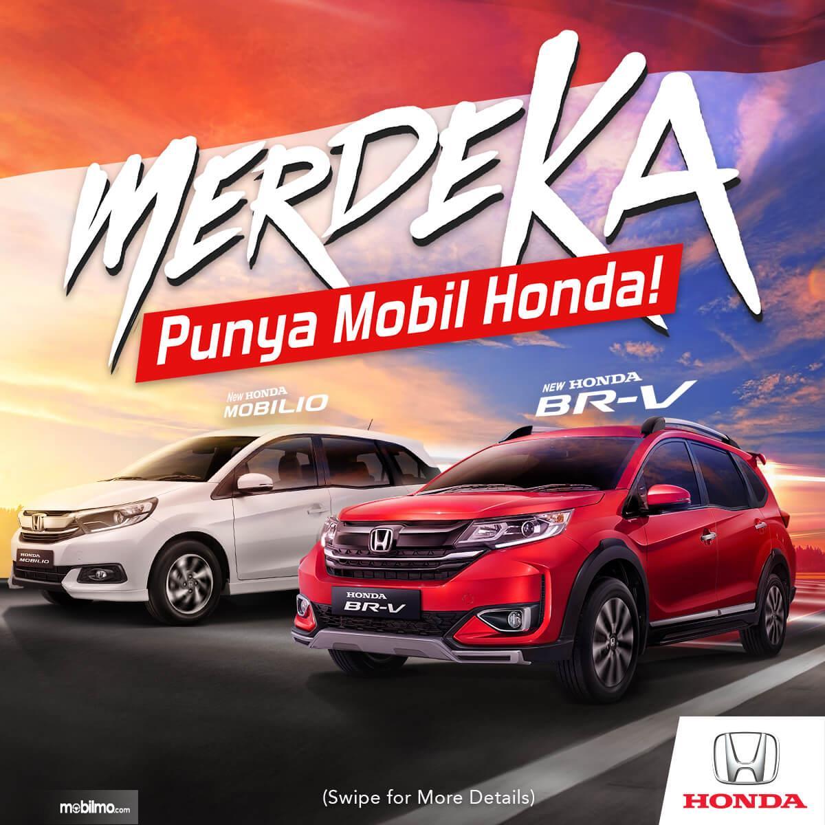 Gambar ini menunjukkan promo mobil dari Honda dengan mobil Mobilio dan BR-V