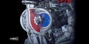 Gambar menunjukkan turbocharger Isuzu 4JK1 pada mobil Isuzu MU-X 2019