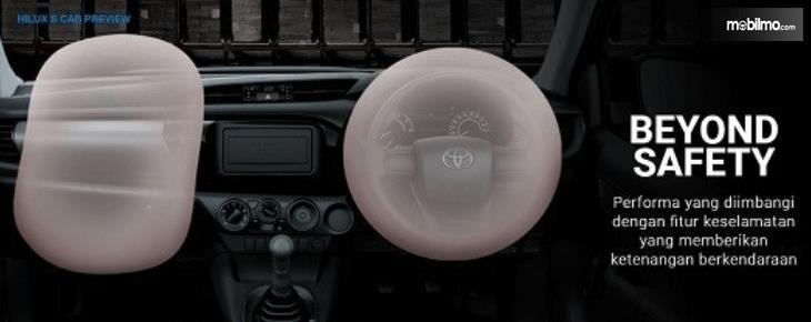 Gambar ini menunjukkan fitur airbags pada Toyota Hilux Single Cabin 2015