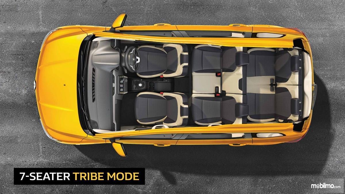 Foto bagian kabin Renault Triber dengan konfigurasi 7 seater