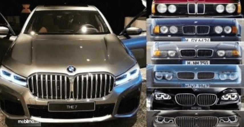 Gambar ini menunjukkan beberapa grille Mobil BMW dari masa ke masa