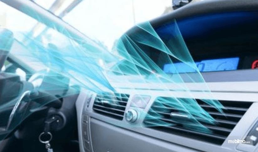 Gambar ini menunjukkan ilustrasi keluarnya suhu AC dingin dari blower AC